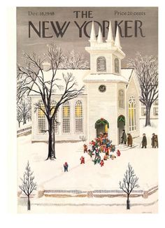 Vintage Illustrations December 1948 Edna Eicke - The New Yorker Cover - December 1948 by Conde Nast The New Yorker, New Yorker Covers, Illustration Noel, Christmas Illustration, Christmas Past, Christmas Images, Xmas, Christmas Classics, Christmas Artwork