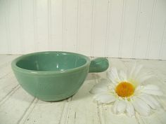 Vintage Fiesta Style Sea Foam Green Ceramic Soup by DivineOrders, $23.00