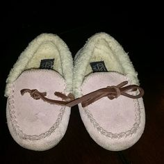 Baby girl toddler loafers(polo ) Lilac pink ,tan draw string,one string is broke, still supper cute,n very able to keep,ur princes cute little  toes warm. Polo by Ralph Lauren Shoes Flats & Loafers