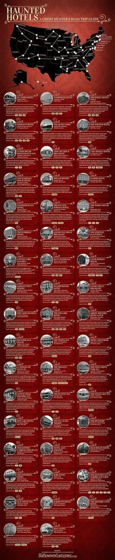 Haunted Hotels: A Ghost Hunter's Road Map Infographic - Want to embark in your most paranormal road trip ever? Visit some of the most haunted hotels in all the states in our pre-set road trip guide!