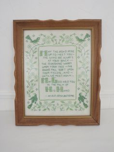 Old Irish Blessing Needlepoint Cross Stitch Completed Framed Vintage Linen 11 x 14 Wood Scalloped Frame May The Road Rise Up to Meet You by TraSheeWomen on Etsy #oldirishblessing #irishblessing #needlepoint #crossstitch #vintagelinen #vintagewallart