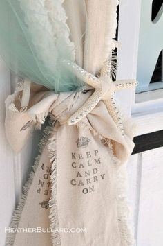 Love this tieback - a great shabby chic look ( use the starfish for a beach house) Coastal Cottage, Coastal Style, Coastal Living, Coastal Decor, Coastal Entryway, Coastal Rugs, Coastal Farmhouse, Modern Coastal, Cottages By The Sea
