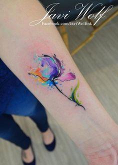 Watercolor Tattoos by Javi Wolf - Tattoo Designs For Women! Wolf Tattoos, Finger Tattoos, Body Art Tattoos, Wrist Tattoos, Flower Tattoo Designs, Tattoo Designs For Women, Tattoos For Women, Wolf Tattoo Design, Pretty Tattoos