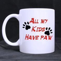 Hipster All My Kids Have Paws Pattern White Coffee or Tea Mug - 11 ounces *** See this great image  : Cat mug