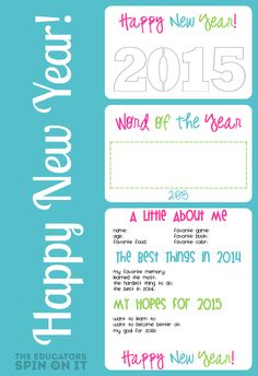 New Year's Printable Interview and Craft Ideas for 2015 from The Educators' Spin On It