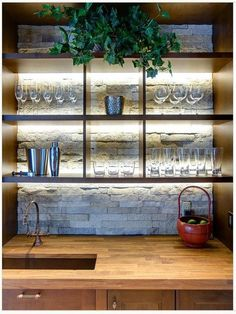 Many of us have basements at home so why not to organize a bar there. We've gathered a bunch of stylish basement bar decor ideas to help you with that. Basement Bar Plans, Wet Bar Basement, Basement Bar Designs, Basement Remodeling, Basement Ideas, Wet Bar Designs, Home Bar Designs, Bar Shelves, Glass Shelves