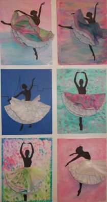 Degas inspired-- person in motion silhouette Pinner said: I saw a version of this posted and decided to do my own take with my people. I let them do the background, paste a silhouette of a dancer and the skirts are coffee filters. Coffee Filter Art, Coffee Filter Crafts, Creation Art, Ecole Art, School Art Projects, Art Lessons Elementary, Middle School Art, Preschool Art, Art Lesson Plans