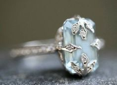 This beautiful aquamarine alternative engagement ring is set in handcrafted silver