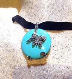 Vintage Genuine Composite Turquoise Real Marcasite 925 Sterling Silver Pendant