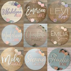 Pretty floral nursery name boards for baby names personalized floral name sign