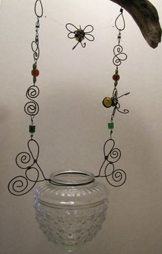 Honey Bee Hanging Wire Wrapped Glass Candle Holder