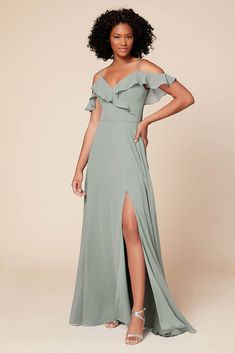 Beige Bridesmaids, Neutral Bridesmaid Dresses, Elegant Dresses Classy, Cocktail Dresses With Sleeves, Butterfly Dress, Slit Skirt, Custom Dresses, Chiffon Dress, A Line Skirts
