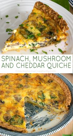 Spinach Quiche - This easy quiche recipe with spinach mushrooms and cheddar cheese makes a great make ahead breakfast or sunday brunch recipe. I've been making it for years so it's tried and true. Vegetarian Quiche, Vegetarian Recipes, Cooking Recipes, Healthy Recipes, Easy Brunch Recipes, Breakfast Recipes, Dinner Recipes, Breakfast Dishes, Simple Quiche Recipes