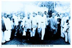 """२ डिसेंबर १९५६ : डॉ बाबासाहेब आंबेडकर आणि दलाई लामा तेव्हा बाबासाहेब बिछान्यात पडून राहिले होते. त्याला पाहताच बाबासाहेब म्हणाले, """"आलास वेळेवर"""
