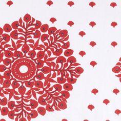 Alahambre Coral Blockprinted Linens Fabric Available at Hollywood At Home