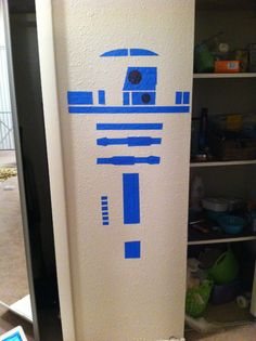 R2-D2 wall decal made from painter's tape