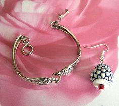 Vintage   stainless  steel spoons  bracelet  flower  pots  earrings   BellaWorxJewelry - Jewelry on ArtFire