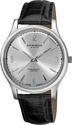 Akribos XXIV Men's AK539SS Swiss Quartz Leather Strap Watch Akribos XXIV. $79.00. Silver-tone stainless steel case. Precise swiss quartz movement. Silver-tone sunray dial. Genuine leather black strap. Water-resistant to 30 M (99 feet). Save 80% Off!