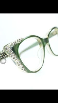 a52e0a687169 Pointy Green Rhinestone Cat Eye Glasses or Sunglasses Frames Vintage Optical  Frame FRANCE medium from thenovelty on Etsy.
