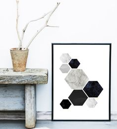 Scandinavian Print Geometric Poster Abstract Art by exileprinted