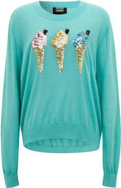 markus lupfer Turquoise Sequin Ice Cream Jumper - Lyst
