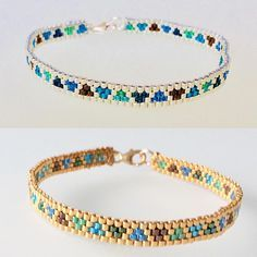 Small gold and silver blender bracelets ✨✨✨ # diy # # # # Bead Jewellery, Seed Bead Jewelry, Jewelery, Loom Bracelet Patterns, Beaded Jewelry Patterns, Woven Bracelets, Seed Bead Bracelets, Bracelet Making, Jewelry Making
