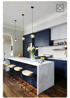 Navy blue kitchen - i dont know if i'll have the guts to put navy cabinets in my house but it may be worth combining with gray