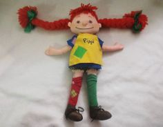 "Pippi Longstocking Omega Toy Astrid Lindgren 15"" Plush Cloth Doll Yarn Braids"