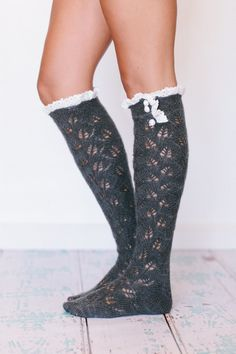 Lacy Knitted Mohair Boot Socks with Ruffles Smoke by ThreeBirdNest