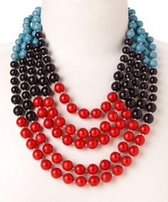 Love this Turquoise & Black Bead Necklace by ZAD on #zulily! #zulilyfinds