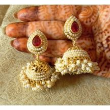 Lalso Gorgeous Rani Pink Gold Plated Wedding Bandani Jhumka Earrings