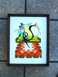 Mid Century Modern Cat original painting framed by COLBYandFRIENDS, $110.00