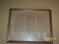 Vtg. Congress 1776 The Declaration of the 13th USA Bill of Rights, Framed Estate