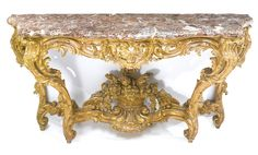 A Louis XV carved giltwood console table in the manner of Contant d'Ivry circa 1745 height 34 in. length 73 in. depth 28 in. French Furniture, Classic Furniture, Antique Furniture, Wood Furniture, Antique Console Table, Console Tables, Entry Tables, Rococo Style, Handmade Furniture