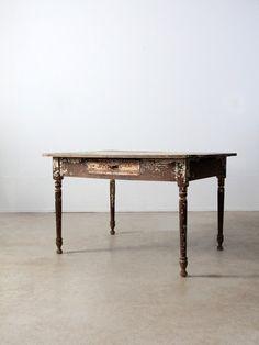 antique primitive kitchen table - 86 Vintage