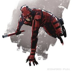 Drawing Superhero Daredevil by Edward Pun - Digital illustration Daredevil Suit, Daredevil Punisher, Daredevil Artwork, Wolverine, Avengers, Marvel Comics Art, Marvel Series, Disney Marvel, Cultura Pop