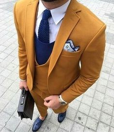Cheap latest coat pant designs, Buy Quality 3 piece tuxedo directly from China double breasted mens suit Suppliers: 2017 Latest Coat Pant Designs Yellow Brown Double Breasted Men Suit Terno Slim Fit Skinny 3 Piece Tuxedo Custom Blazer Masculino Best Suits For Men, Cool Suits, Mens Fashion Suits, Mens Suits, Men's Fashion, Formal Fashion, Winter Fashion, Dandy Look, Terno Slim Fit