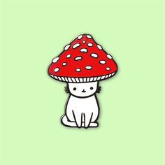 Mushroom Kitty Hard Enamel Pin by ponyponypeoplepeople on Etsy