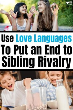 How to help your children treat each other with kindness and end the constant fighting. Put an end to sibling rivalry, sibling bickering, and sibling fighting with these simple sibling rivalry solutions. We use love languages for kids to help our kids build more positive relationships with each other. #siblings #siblingrelationships #lovelanguages #lovelanguagesforkids #lovelanguages