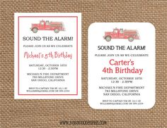 Fire Truck Invitation  Vintage Fire Truck  www.BabadooDesigns.com