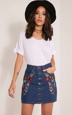 Elisha Dark Wash Embroidered Denim Mini Skirt Image 1