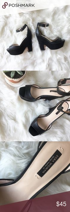 """Zara Woman Spring/Summer 2013 Black Platform Heel Like new! Faux leather upper with ankle strap buckle and 5"""" heel with 2"""" platform. Lower is wrapped in matte velvet. Excellent condition. Zara Shoes Heels"""
