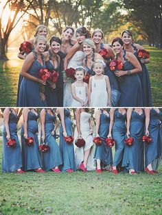 red shoes for bridesmaids with blue dresses