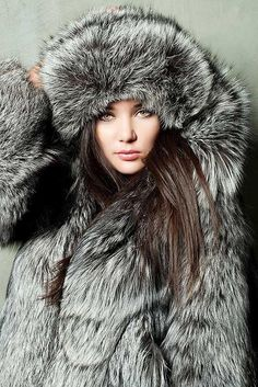 silver fox fur parka