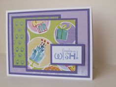 """Handmade Birthday Card using Kathy Davis paper and Operation Write Home sketch #168. Cupcakes and """"Make a Wish"""""""