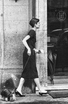 Audrey Hepburn walking her dog, Mr. Famous......in Rome.