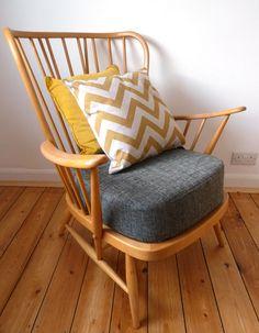 Restored mid-century blonde Ercol chair 1970s original reupholstered armchair