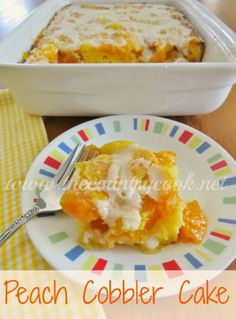 The Country Cook: Peach Cobbler Cake - Made this one 04-28-2014.  Added Cinnamon to the topping and a bit of vanilla to the icing, pretty tasty.  May not have let it cool long enough before covering, topping was a bit mushy the next day but was still pretty tasty.