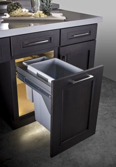 #Kitchen #KitchenIsland #Bin #Pullout #PulloutBin #KitchenOrganization #Trash