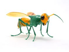 """Wesley Fleming   Green & Gold Hornet - 2013  Effetre glass, about 4"""" x 2"""" x 2"""""""